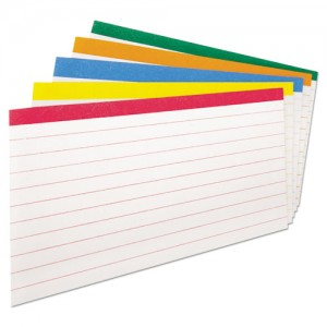 Colour Coded Index Cards