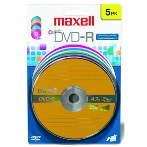 Maxell DVD-R Colour 4.7GB 5 Pack