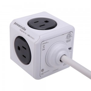 PowerCube w/ 5ft Cord Power Strip with 4 outlets, Dual USB Port and Resettable Fuse